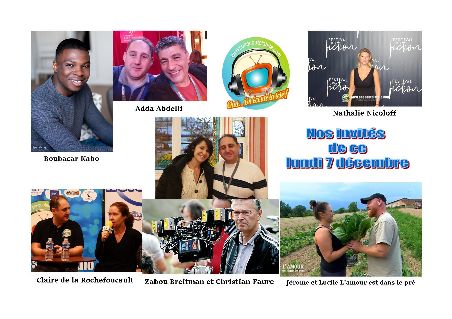 Voici en réécoute nos émissions de ce lundi 7 décembre avec Jérome et Lucile de l'amour est dans le pré, Zabou Breitman, et Boubacar Kabo