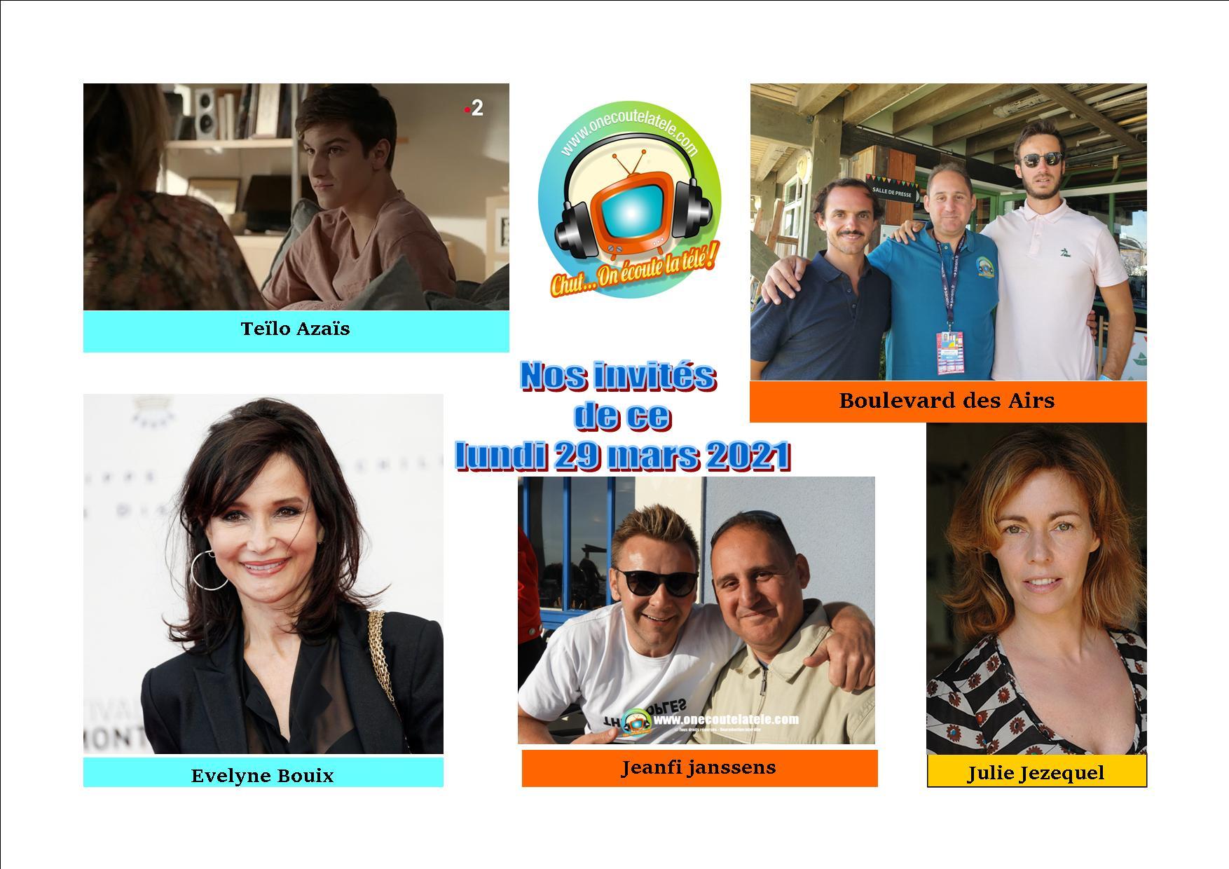 Voici nos émissions de ce lundi 29 mars en réécoute avec Boulevard des airs, Julie Jezequel, Teïlo Azaïs, Jeanfi Jeanssens et Evelyne Bouix