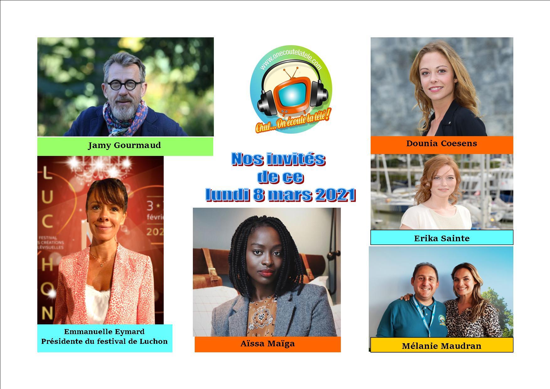 Voici nos podcasts Chut on écoute la télé de ce lundi 8 mars avec Dounia Coesens, Jamy Gourmaud, Mélanie Maudran, Erika Sainte, Emmanuelle Eymard et Aïssa Maïga